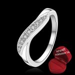 ฟรีกล่องแหวน R893 แหวนเพชรCZ ตัวเรือนเคลือบเงิน 925 หัวแหวนเพชรแถว ขนาดแหวนเบอร์ 7-8