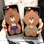 (025-571)เคสมือถือไอโฟน Case iPhone 7 Plus เคสนิ่มลายหมี พร้อมสายคล้องคอแบบถอดแยกได้