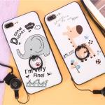 (025-648)เคสมือถือไอโฟน Case iPhone7 Plus/iPhone8 Plus เคสนิ่มซิลิโคนลายการ์ตูนน่ารักๆ พร้อมแหวนมือถือและสายคล้องคอถอดแยกได้