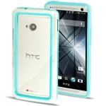 Case เคส TPU + Transparent Plastic Bumper Frame HTC One M7 (Baby Blue)