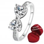 ฟรีกล่องแหวน แหวนเพชรCZ รูปหัวใจ ประกายวิ๊งๆ ตัวเรือนเคลือบเงิน หัวแหวน Cubic Zirkon ขนาดแหวนเบอร์ 7
