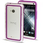 Case เคส TPU + Transparent Plastic Bumper Frame HTC One M7 (Purple)