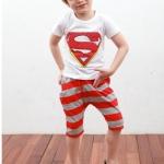 ชุดเด็ก เสื้อสีขาวกางเกงสีแดงเทา ขนาด 100-140