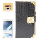 Lizard Texture Diamond Encrusted Button for Samsung Galaxy Note II / N7100 (Black)