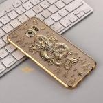 (010-003)เคสมือถือซัมซุง Case Samsung S6 Edge Plus เคสนิ่มขอบชุบแววพื้นหลังลายมังกร 3D