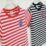 เสื้อเด็กแขนสั้น ลาย play สีแดงลายทาง มีขนาด 90-130