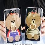 (025-661)เคสมือถือ Case Huawei Y7prime เคสนิ่มลายหมี พร้อมสายคล้องคอแบบถอดแยกได้/แหวนเพชรมือถือ