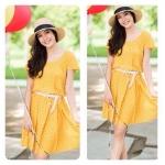 Mini dress polka dots สีเหลืองจุดขาว