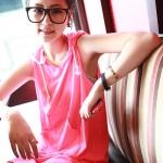 เสื้อผ้าแฟชั่นสไตส์เกาหลี  ชุดแซก แขนกุด แนวสปอร์ต มีฮูด   สีชมพูแดง  +พร้อมส่ง+