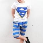 ชุดเด็ก เสื้อสีขาวกางเกงสีฟ้าเทา นาด 100-140