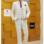 สูท,ชุดสูทชาย แฟชั่นเกรด A สีงาช้าง Size XL ( สูท+กั๊ก+กางเกง)