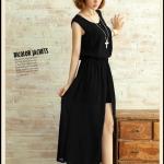 เสื้อผ้าแฟชั่นสไตส์เกาหลี แซกเดรสแขนกุด จั้มเอว สีดำ+พร้อมส่ง+