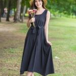 Plain Maxi Dress สีดำ