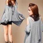 เสื้อผ้าแฟชั่นสไตส์เกาหลี เสื้อแซกแขนยาว ทรงผีเสื้อ แต่งเว้าไหล่ สีเทา +พร้อมส่ง+