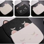 (659-006)เคส iPad6 Air2 เคสนิ่มเหมียวหลับตาหูยาว 3D