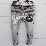 กางเกงยีนส์ขายาว แนวเกาหลี สกรีน Sparkling แต่งกระเป๋าด้วยหนัง เท่ห์สุดๆ size 5, 7, 9, 11, 13