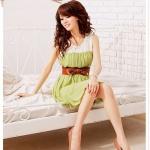 เสื้อผ้าแฟชั่นสไตส์เกาหลี เดรสแซกแขนกุด จั้มเอว สีขาวเขียว  +พร้อมส่ง+