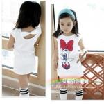 ชุดกระโปรงเด็กผู้หญิง สไตล์เกาหลี แขนกุด สีขาว
