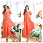 Colorful summer maxi dress สีส้ม
