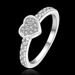 R904 แแหวนเพชรCZ ตัวเรือนเคลือบเงิน 925 หัวแหวนรูปหัวใจ ขนาดแหวนเบอร์ 7