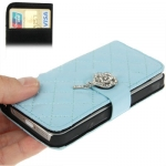 Case เคส Plaid Diamond Flower Button Flip iPhone 5 (Baby Blue)