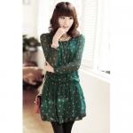 เสื้อผ้าแฟชั่นสไตส์เกาหลี  เดรสแซกแขนยาว จั้มเอว ลายจุด สีเขียว +พร้อมส่ง+