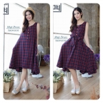 Tartan Jpn cotton dress สีม่วง