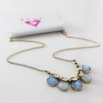 Blue Crystal Statement Necklace สร้อยคอแผงแต่งคริสตัลสังเคราะห์สีฟ้า