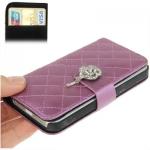 Case เคส Plaid Diamond Flower Button Flip iPhone 5(Purple)