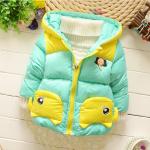 เสื้อกันหนาวสีเขียว มีขนด้านใน หนานุ่ม อุ่นมาก สำหรับเด็กอายุ 1-4 ปี