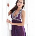 2in1 Sexy Ctrue Dress ชุดนอนซีทรูสีม่วงคล้องคอผูกหลังแต่งระบายชาย พร้อมจีสตริง