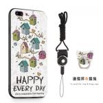 (025-616)เคสมือถือไอโฟน Case iPhone 8+ Plus เคสนิ่มซิลิโคนลายน่ารักพร้อมแหวนมือถือและสายคล้องคอถอดแยกได้