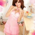 2in1 Sexy Princess Pink Dress ชุดนอนเซ็กซี่ผ้ามันลื่นสีชมพูแต่งโบว์ที่อก ระบายชาย พร้อมจีสตริง