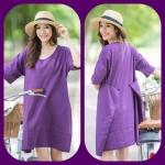 Simply Back Buttons Linen Dress- สีม่วงเม็ดมะปราง