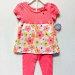 Wonder Kid ชุดเซ็ท 2 ชิ้น เสื้อ+กางเกง ผ้ายืดสีชมพูโอรส ลายดอกไม้ เนื้อนิ่ม ใส่สบายค่ะ size 2, 3, 4, 5 T