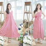 Classic Stripe Maxi Dress สีแดง