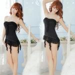2in1 Sexy Diva Dress ชุดนอนเซ็กซี่ผ้าซีทรูสีดำเกาะอกแต่งระบายที่อกและชาย พร้อมจีสตริง mm5058