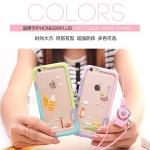 (439-011)เคสมือถือไอโฟน case iphone 6Plus/6S Plus เคสบัมเปอร์ทูโทน TPU+PC+สายห้อย+สติ๊กเกอร์