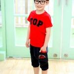 ชุดเด็ก เสื้อสีแดงกางเกงสีดำ มีขนาด 100-140