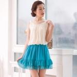 เสื้อผ้าแฟชั่นสไตส์เกาหลี เดรสแซก จั๊มเอว แขนกุด แต่งด้านบนสีขาว กระโปรงสีฟ้า  +พร้อมส่ง+