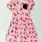 H&M ชุดกระโปรงสีชมพู ลายสนู๊ปปี้ (Snooppy) ติดโบว์ดอกไม้ น่ารักๆ size 2-4, 4-6, 6-8