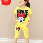 ชุดเด็ก เสื้อสีเหลืองลายมินนี่เมาส์กางเกงสีเหลือง ขนาด 100-140