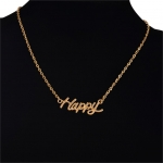 ซื้อของขวัญให้แฟน Gold Happy Necklace สร้อยคอสีทองแต่งจี้ความสุข Happy