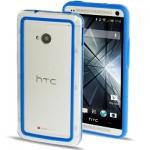 Case เคส TPU + Transparent Plastic Bumper Frame HTC One M7 (Blue)