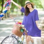 Simply Back Buttons Linen Dress-ม่วงน้ำเงิน