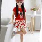 ชุดกระโปรง เสื้อสีแดงกระโปรงสีขาวแดง ขนาด 100-140