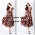 Midi Dress Vintage Style - สีแดงเลือดหมู