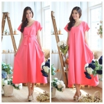 Colorful summer maxi dress สีชมพู