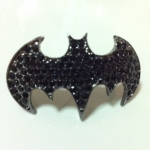 BatMan Double Ring แหวนคู่แบทแมนสีเงินรมดำ แต่งคริสตัลสีดำทั้งวง