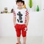 ชุดเด็ก เสื้อสีขาวลายมิกกี้เมาส์กางเกงสีแดง ขนาด 100-140
